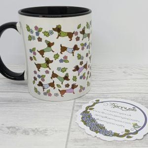 sausage dog pattern mug