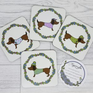 sausage dog coaster set