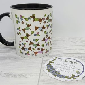sausage dog pattern mug